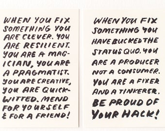Mending Mini-Prints, Set of Two: Words of wisdom and encouragement for menders, black and white prints, small art mini art postcard set