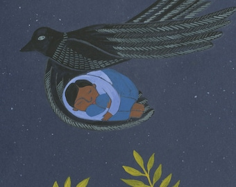 Dark Bird, Fly Me Away - print of an original illustration, fine art print, archival prints, wall art