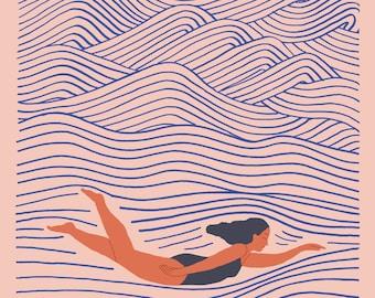 The Quiet Place Below - print of an original illustration, fine art print, archival prints, wall art ocean art print