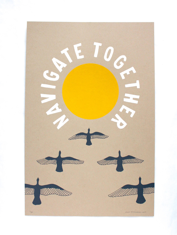 Navigate Together Poster Print Large Wall Art Bird Art | Etsy