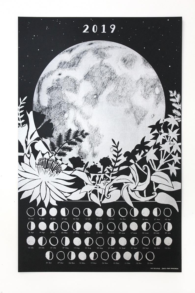 2019 Night Garden Moon Calendar Poster Wall Calendar Moon   Etsy