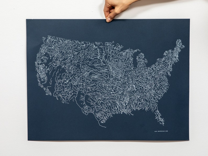Map Of America Rivers.Rivers Of America Map Poster Print Screenprint River Map Of Etsy