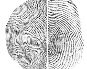 Against Forgetting Fine Art Print - Fingerprint and Tree Ring Rubbing