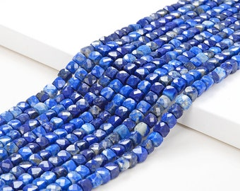 Natural Faceted Lapis Lazuli Cube Beads AAA Quality 4MM Size available,Faceted,Smooth Faceted Beads Jewelry Making,Polished Beads