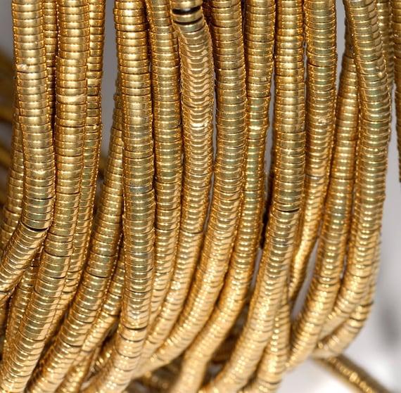 "2X1MM GOLD HEMATITE GEMSTONE GOLD RONDELLE 2X1MM LOOSE BEADS 15.5/"""