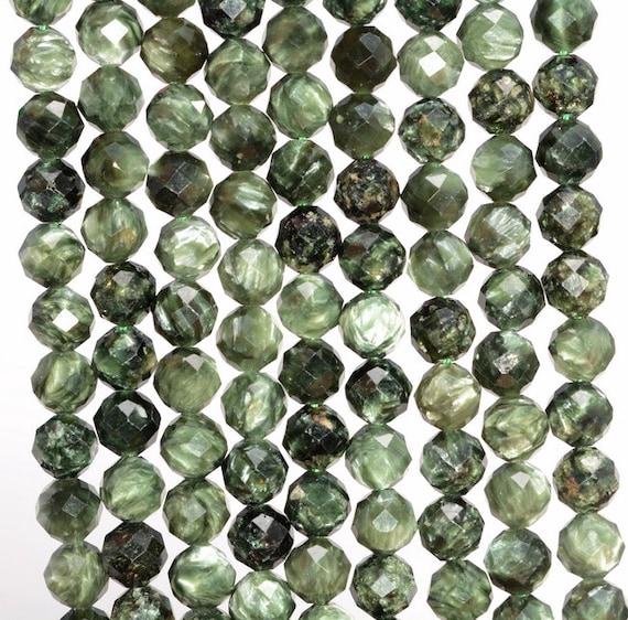 80006079-485 5-6mm Genuine Russian Seraphinite Gemstone Grade AA Green Round Loose Beads 15.5 inch Full Strand