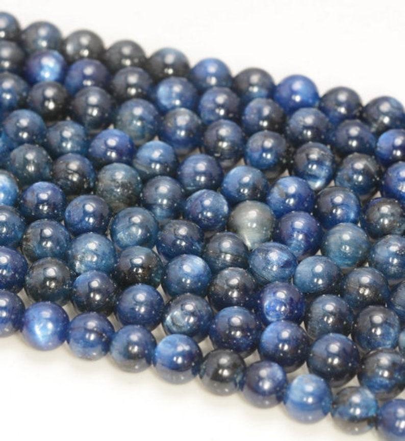 90184220-853 5mm Kyanite Gemstone Dark Blue Grade A Round Loose Beads 15 inch Full Strand