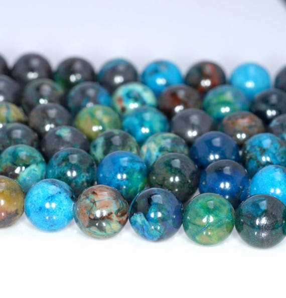 6MM CHRYSOCOLLA GEMSTONE GREEN BLUE ROUND 6MM LOOSE BEADS 16/""