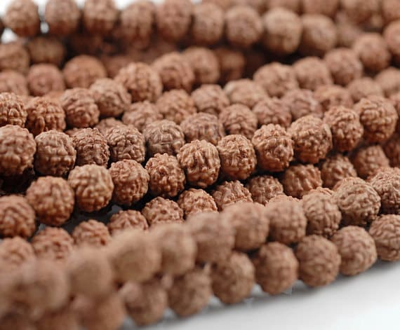 7MM NATURAL RUDRAKSHA BODHI SEED ROUND LOOSE BEADS 30/""