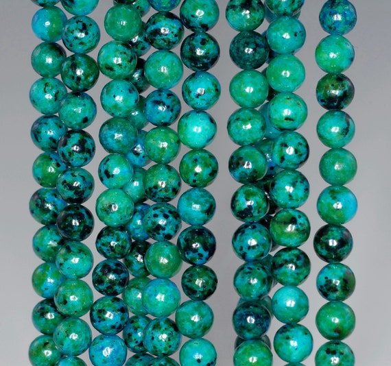 """6MM TURQUOISE CHRYSCOLLA GEMSTONE ROUND 6MM LOOSE BEADS 15.5/"""""""
