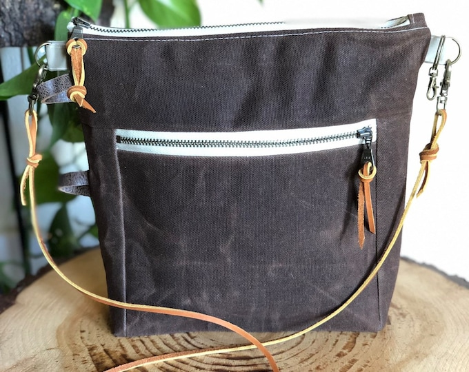 Essential Crossbody Bag ... in Chocolate Brown Waxed Canvas