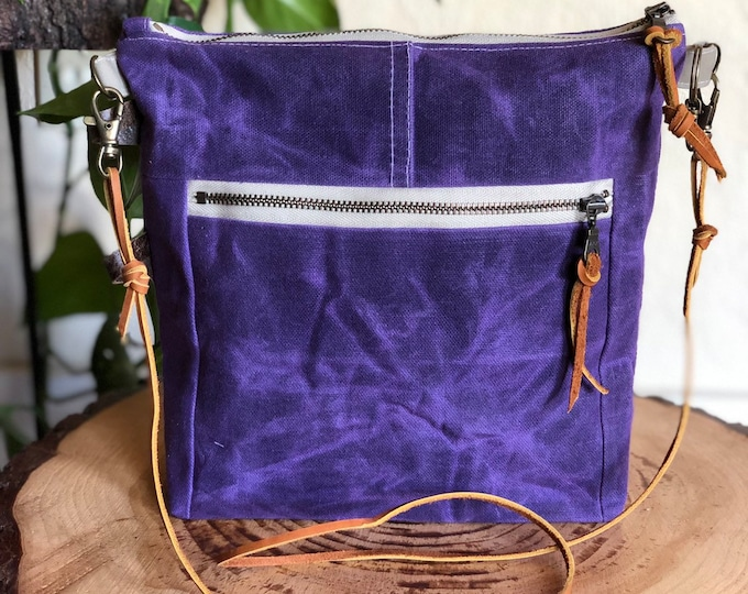 Essential Crossbody Bag ... in Stitched Grape Waxed Canvas