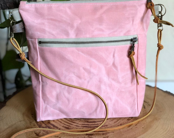 Essential Crossbody Bag ... in Petal Pink Waxed Canvas