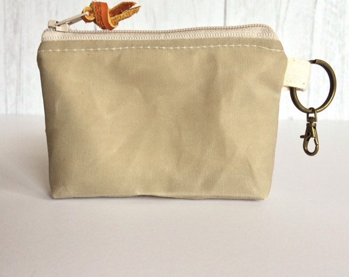 Coin Purse...Lightweight Waxed Canvas and Linen