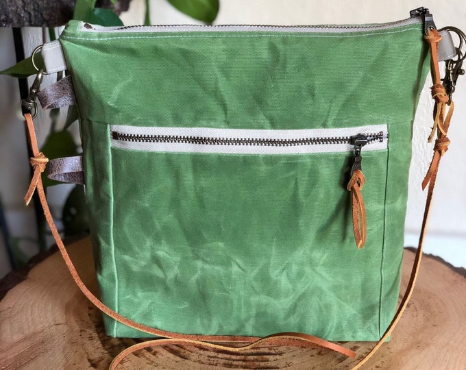 Essential Crossbody Bag ... in Spring Green Brushed Waxed Canvas