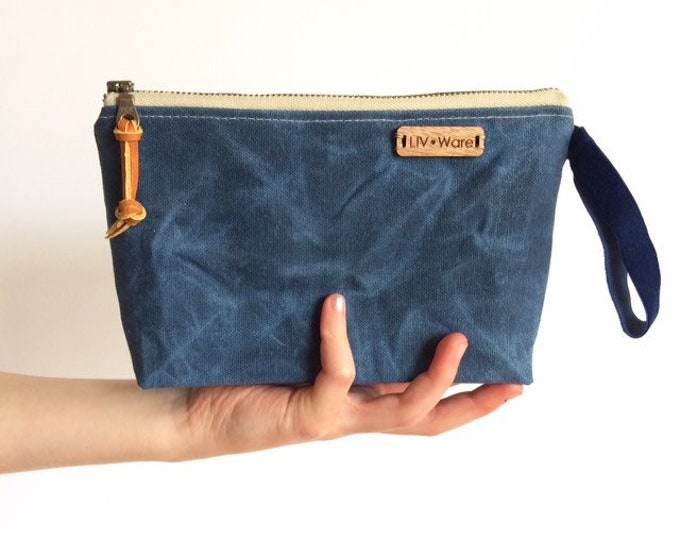 Waxed Canvas Clutch...Waxed Canvas, Linen, Cork (7 color choices)