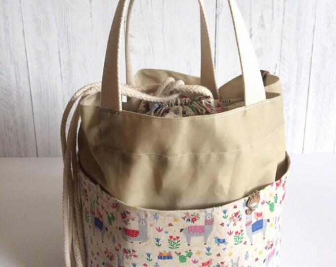 Project Bag...Llama Linen, Waxed Canvas and Linen Cinch Top Bag