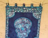 Batik Wall hanging skull - Perfect for Halloween- Blue funky sugar skull