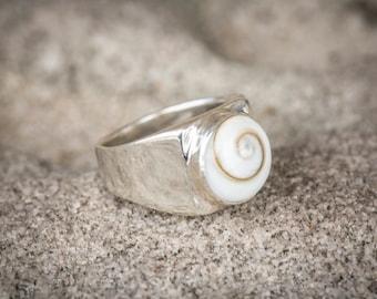Sterling silver and spiral shell ring, shiva eye, koru shell, boho ring, celtic spiral, good luck jewellery, talisman, ocean jewellery
