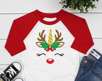 2fd72688b Reindeer face shirt, reindeer shirt for kids, Christmas shirts for girls, girl  Christmas shirt, Christmas raglan shirt girl Christmas shirt