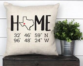 43cafbb8e8 Texas home coordinates Pillow, Texas home pillow, Personalized home  coordinates pillow, Personalized Texas gift, Texas pillow case