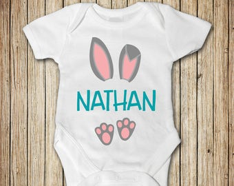 Baby Boy Easter Outfit, Personalized Easter Outfit Boy, Easter Bunny Boy Outfit, Boy Easter Clothes, Bunny Ears for Baby, First Easter