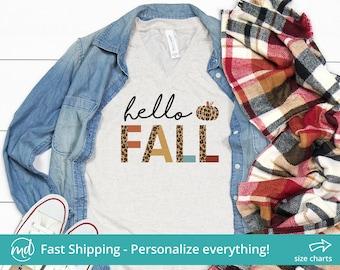 Hello Fall Leopard Shirt, Fall Shirts For Women Leopard, Hello Fall Shirt For Women Fall Shirt V Neck, Hello Fall Graphic Tee Fall