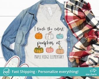 I Teach The Cutest Pumpkins In The Patch Shirt, Personalized Teacher Shirt For Fall Teacher Shirt Women, Pumpkin Teacher Shirt Personalized