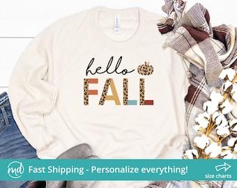 Hello Fall Sweatshirt For Women, Leopard Fall Sweatshirts For Women Pumpkins, Fall Crewneck Sweatshirt, Fall Sweater Oversized Crew Neck