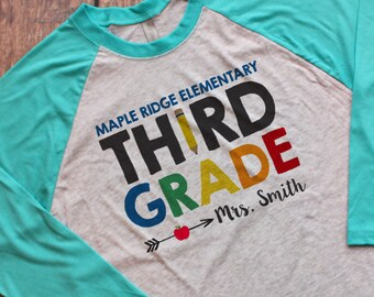 39b35c4ac Personalized Third Grade Teacher Raglan Shirt with School and Name, 3rd  Grade Teacher Raglan Shirt, Matching Team 3rd Grade Raglan Shirts
