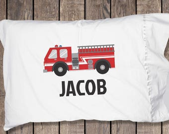 Personalized Firetruck Pillow Case, Firetruck Pillow, Firetruck Pillowcase, Firetruck Gifts, Firetruck Birthday Decorations, Pillowcase ONLY
