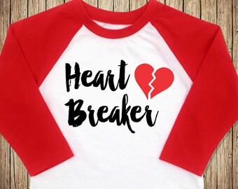Heart Breaker Shirt, Toddler Boy Valentine Outfit, Boy Valentine Outfit, Toddler Valentines Day Shirt, Valentine Raglan Shirt, Heart Shirt