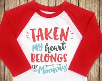 Toddler Boy Valentine Shirt, My Heart Belongs to Mommy, Boy Valentine Outfit, Boys Valentine Shirt, Valentine Raglan for Toddler Boys