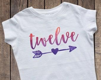12th Birthday Shirt Girl Twelve 12 Girls Year Old Ombre