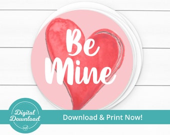 paper goods be mine tags red tags pink gift tags valentines day watercolor packaging hearts Set of 9 heart tags