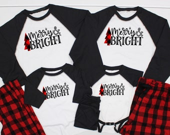 merry and bright christmas pajamas christmas pjs family christmas pajamas plaid buffalo plaid pajama set pjs for christmas