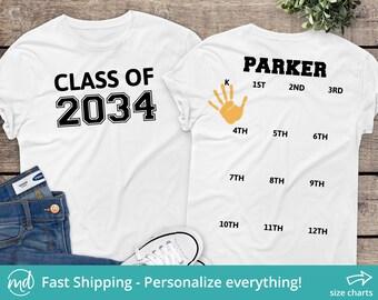 Class Of 2034 Handprint Shirt, Class Of 2034 Grow With Me Shirt, 2034 Graduation Shirt, Class Of 2034 Shirt, Class Of 2034 Tshirt