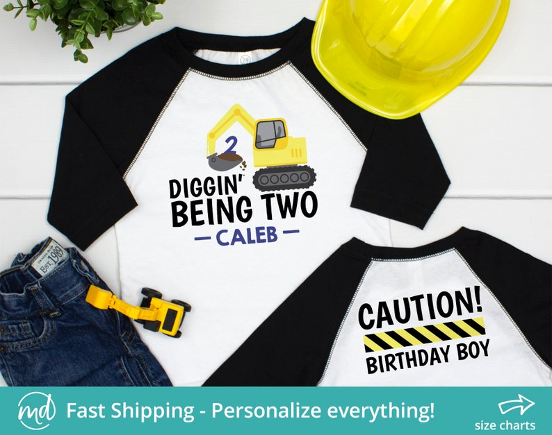 I Dig Being 2 2nd Birthday Construction Shirt Digger