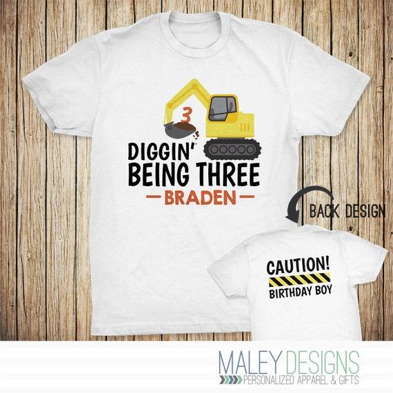 Construction Birthday Shirt Boys Personalized 3rd