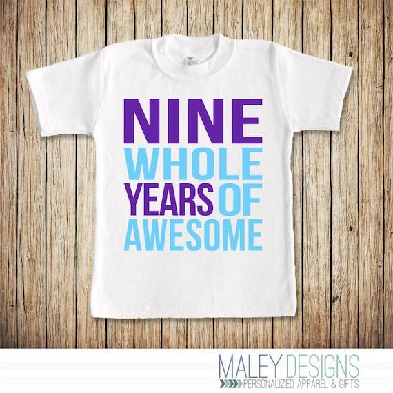 Nine Year Old Birthday Shirt Girl
