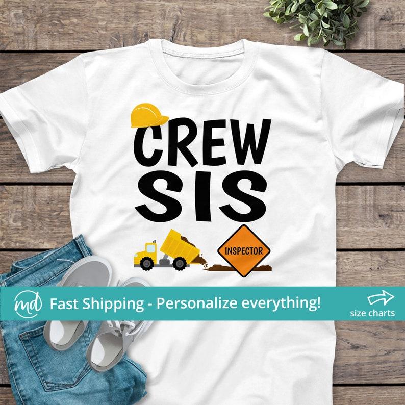 Crew Sis Matching Sister Construction Shirt Crew Sister image 0
