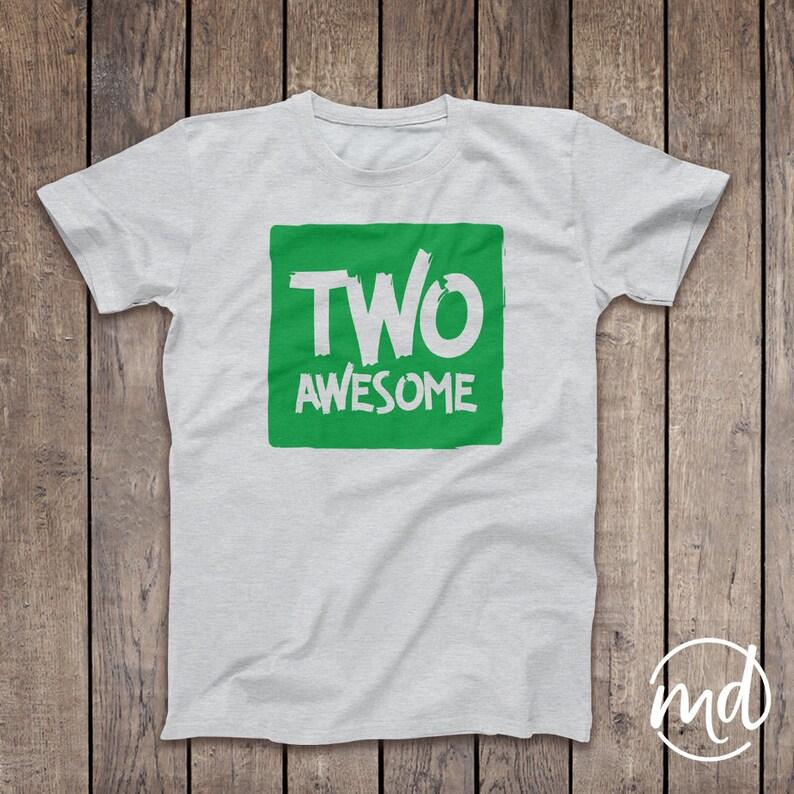 Two Awesome Shirt 2 Tshirt Boy Second Birthday