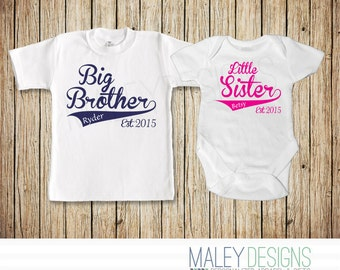 Big Brother Little Sister Matching Outfits, Coordinating Sibing Shirts, Big Brother Little Sister, Completely Customizable