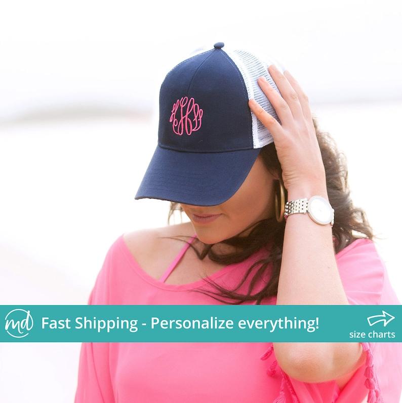 1673e4be0 Monogrammed Trucker Hat, Monogrammed Hats For Women, Spring Break Hats,  Bridal Party Hats, Wedding Hats Women, Trucker Hat For Women Custom