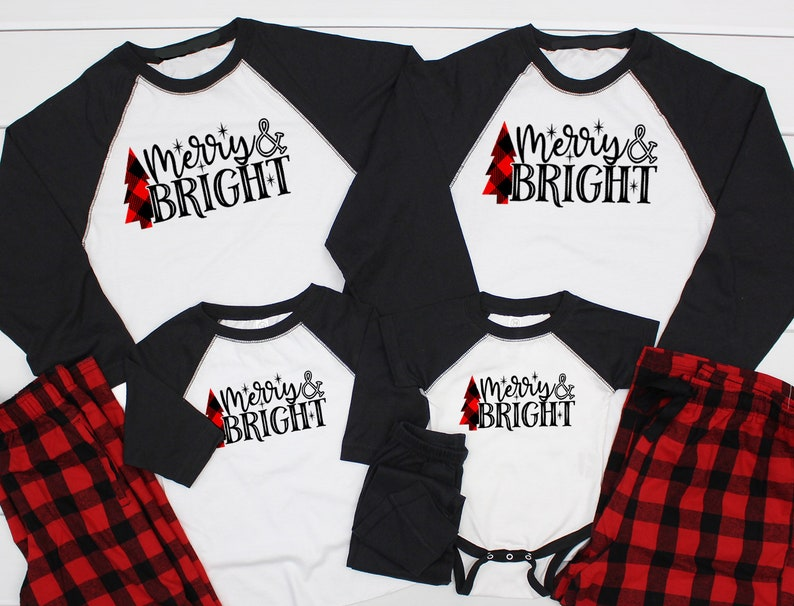 Merry and Bright Christmas pajamas Christmas Pjs family  77ecd71c7
