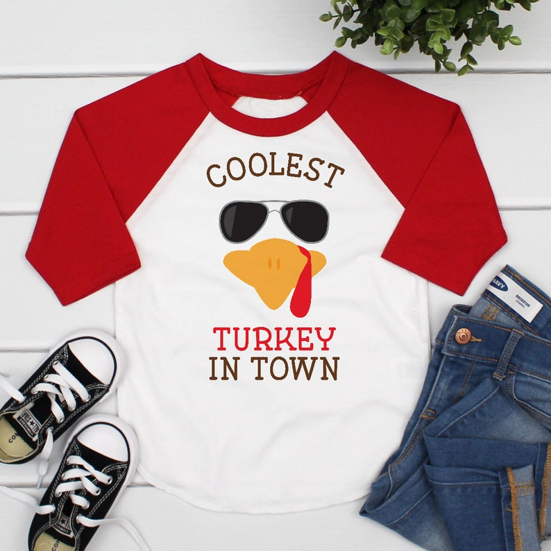 4599d8ae1 Coolest Turkey in Town Boys Thanksgiving Shirt Funny | Etsy