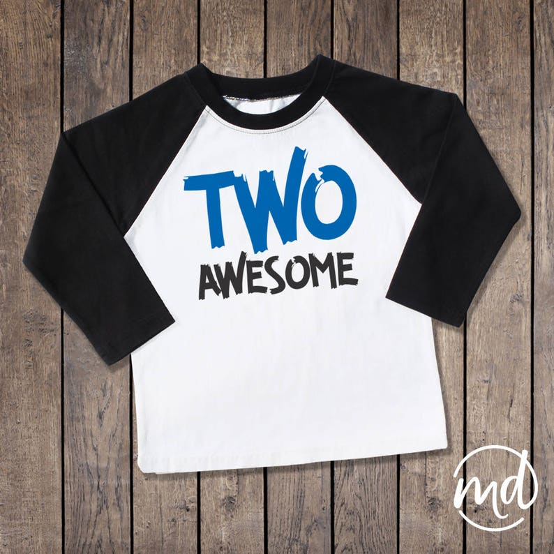 Two Awesome Shirt 2 Raglan Boy Second Birthday Outfit Year Old