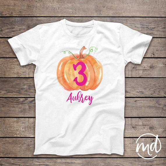 Third Birthday Pumpkin Shirt 3rd Girl 3 Year