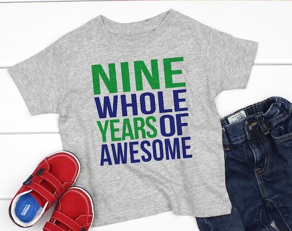 9 Year Old Boy Birthday Shirt Nine Whole