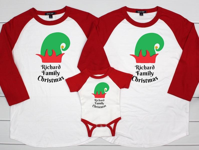 b47a3ec35bbc Matching Family Elf Pajamas Elf Christmas Raglan Shirts